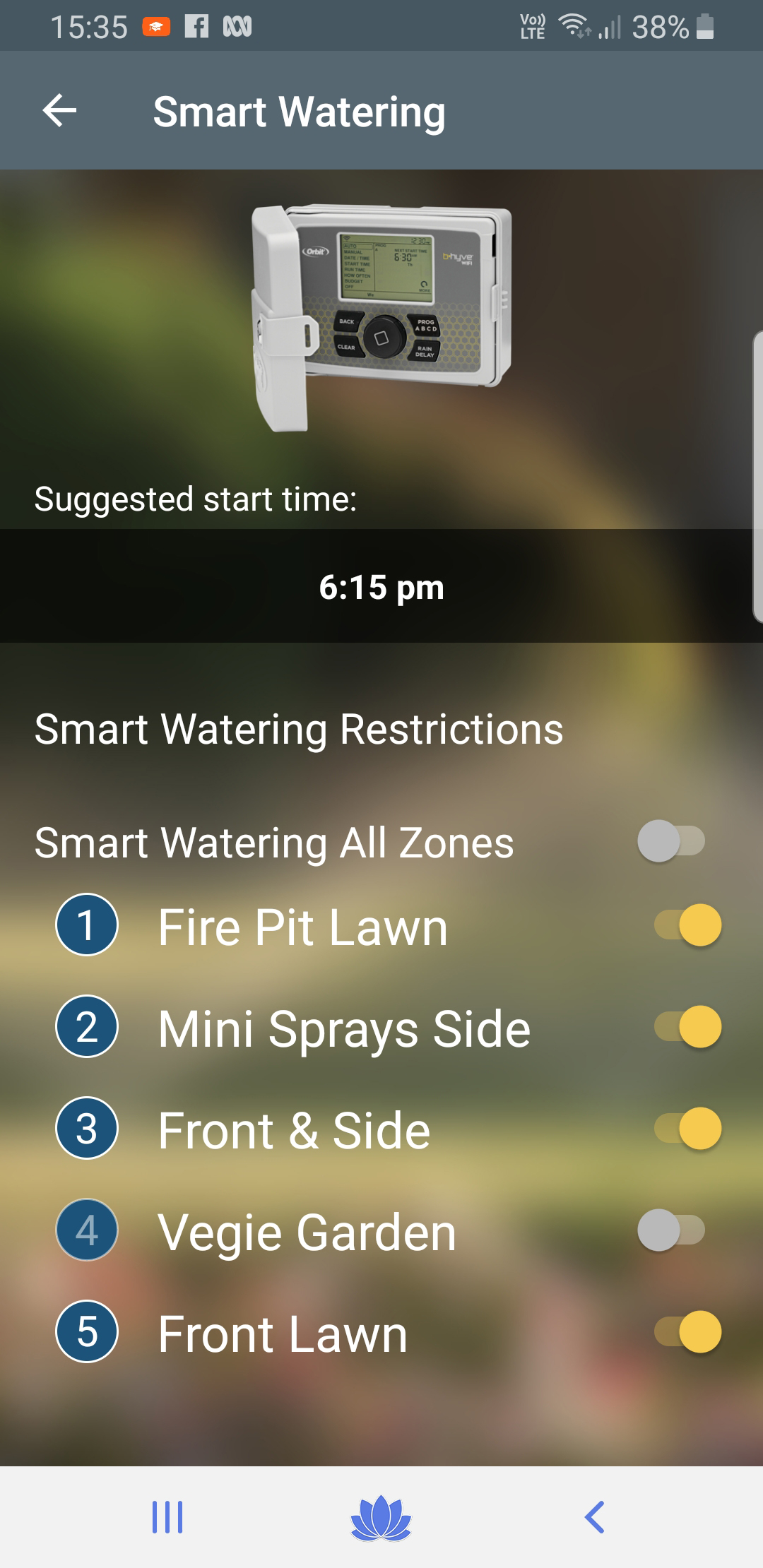 mobile screenshot of smart watering app showing zones